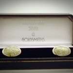 IONA MARBLE SET IN SILVER CUFFLINKS