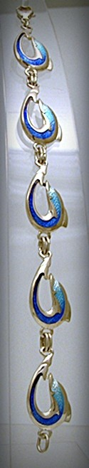 Dolphin enameled silver bracelet