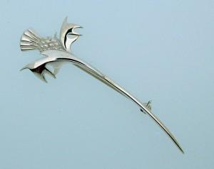 Silver thistle kilt pin 7.5 cms long
