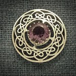 CELTIC SILVER BROOCH WITH AMETHYST